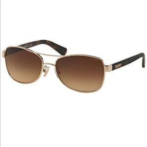COACH Gold Aviator Sunglasses in Textured Acetate